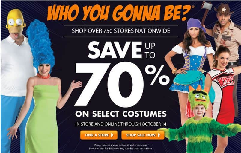 today through october 14th you can save up to 70 off select halloween costumes at party city