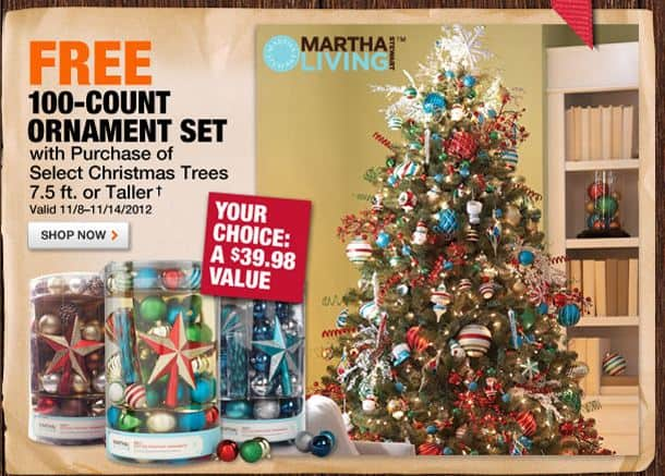 FREE 100-Count Ornament Set with Tree Purchase at Home Depot ...