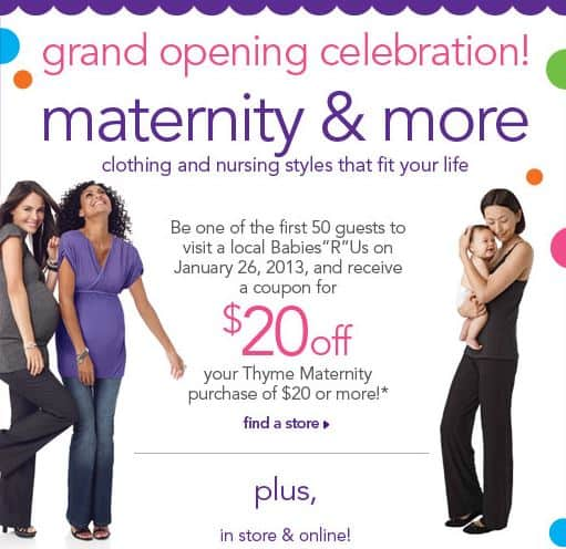 Babies R Us 20 Off 20 Thyme Maternity Purchase To First 50 Guests