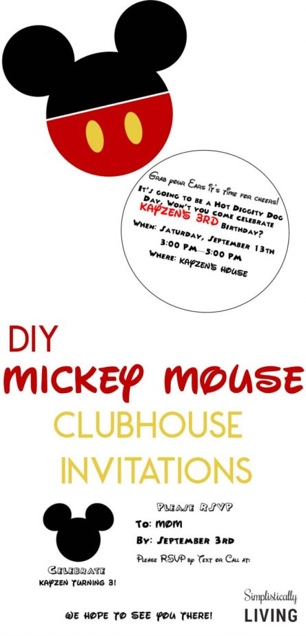 DIY Mickey Mouse Clubhouse Party Invitations Diy Mickeymouse Partyinvitations Mickeymouseparty