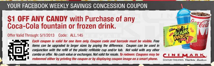 Cinemark Has Released A New Coupon On Their Facebook Page Valid For 100 Off Any Candy With The Purchase Of Fountain Or Frozen Drink