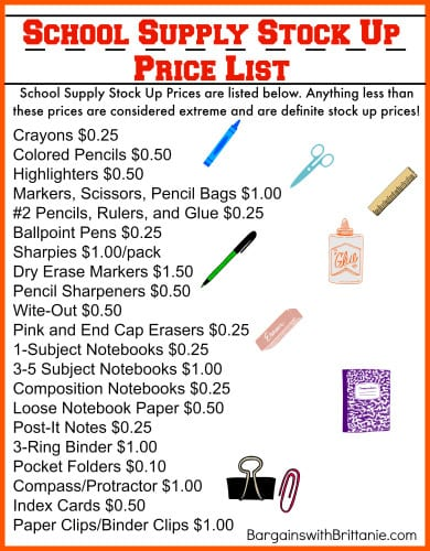 School Supply Stock Up Price List