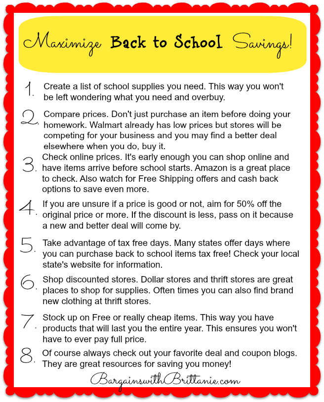 maximize back to school savings