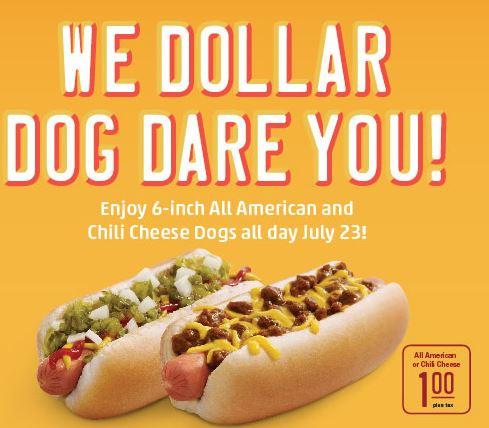 sonic $1.00 dog day