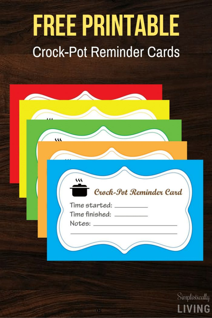 Crock-Pot Reminder Cards (Free Printable)