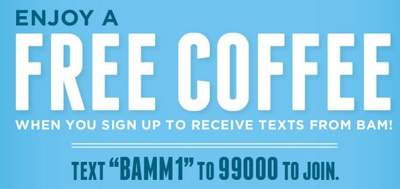 free coffee from BAM