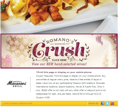 macaroni grill buy one get one free entree coupon
