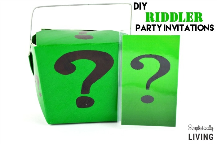 DIY Riddler Party Invitations Featured