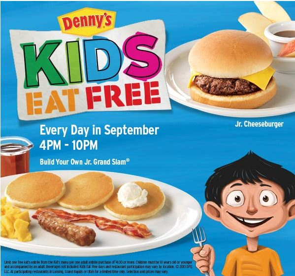 That's why I like that kids eat free at Denny's on Tuesdays. And if you're kind of lucky like we are, you might even have a location where kids eat free on Saturday too. Kids Eat Free at Denny's. As with almost all promotions, there are some guidelines to the Kids Eat Free at Denny's promotion.