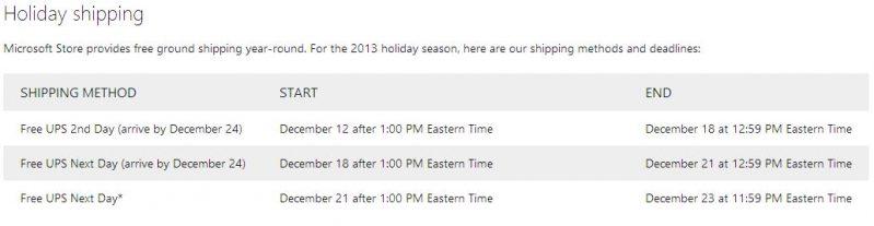 microsoft shipping deadline