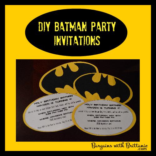 Diy Batman Party Invitations