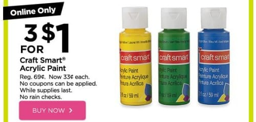 Craft Smart Acrylic Paint only $0.33 each at Michael\'s ...