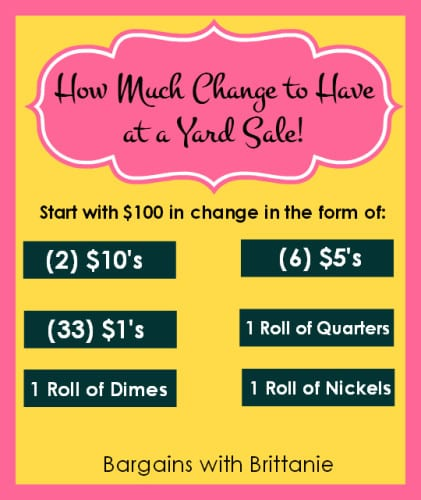 how much change to have at a yard sale