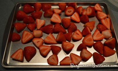 strawberries on cookie sheet