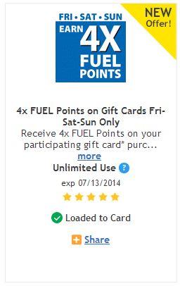 4x fuel rewards coupon