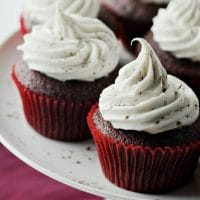 Red Velvet Cupakes with Amaretto Vodka Cream Cheese Frosting