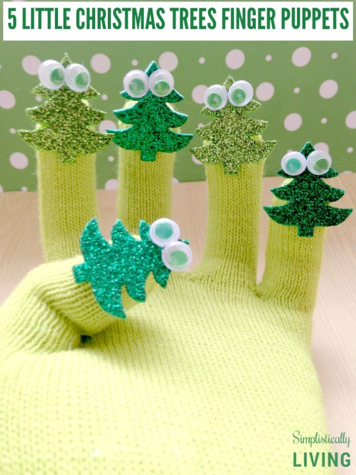 5 little christmas trees finger puppets