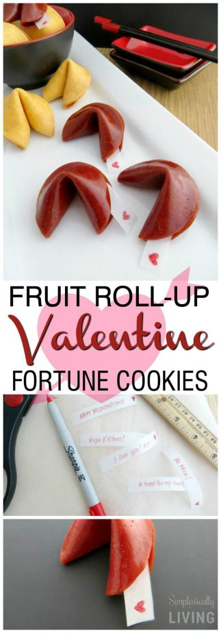 Fruit Roll-Up Valentine Fortune Cookies + Free Fortune Printables! #fortunecookie #fruitrollup #valentine #valentinetreats #valentinesrecipes