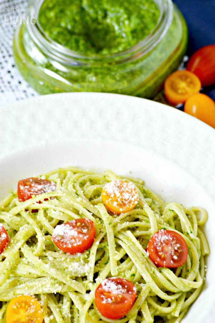 homemade spinach pesto pasta