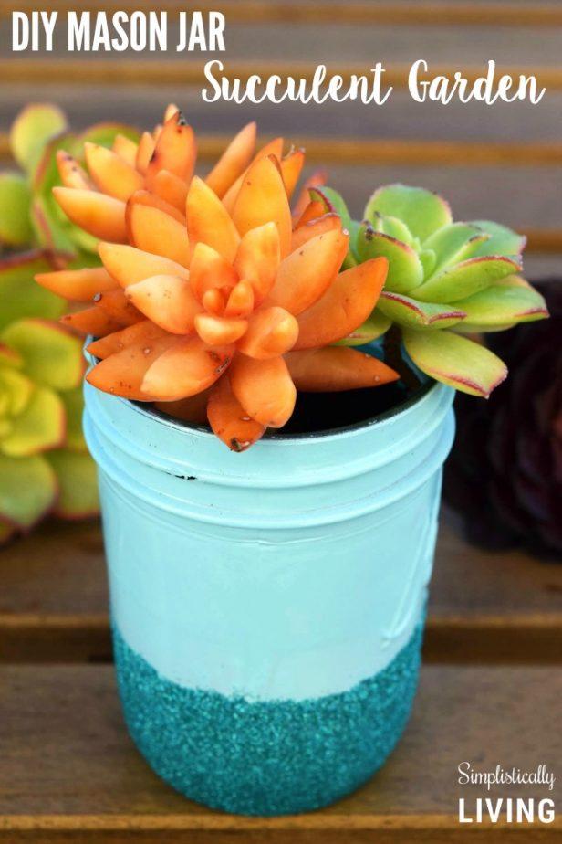 Mason Jar Succulent Garden