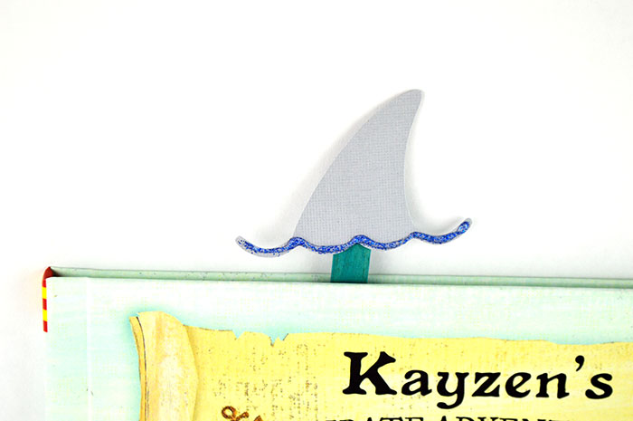 shark fin bookmark in book