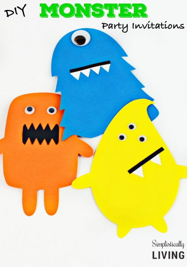 DIY Monster Party Invitations Simplistically Living