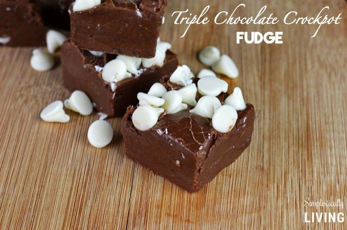 triple chocolate crockpot fudge featured