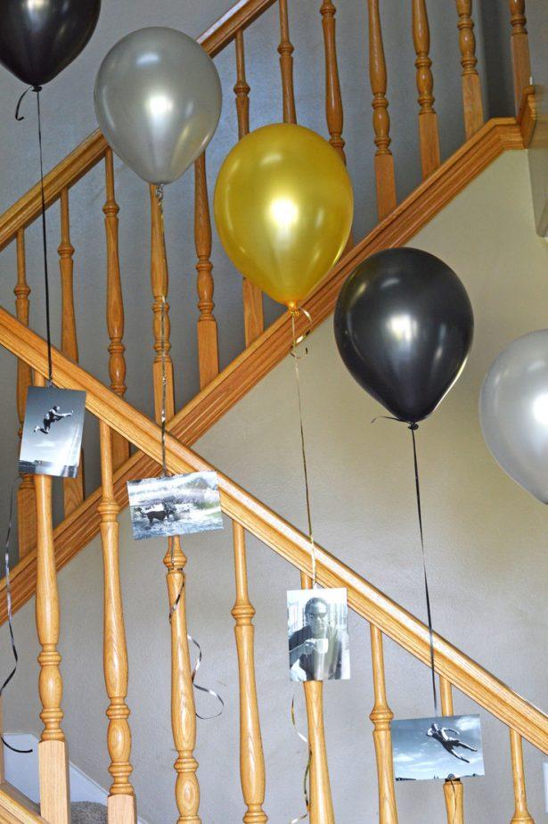 balloons on railing
