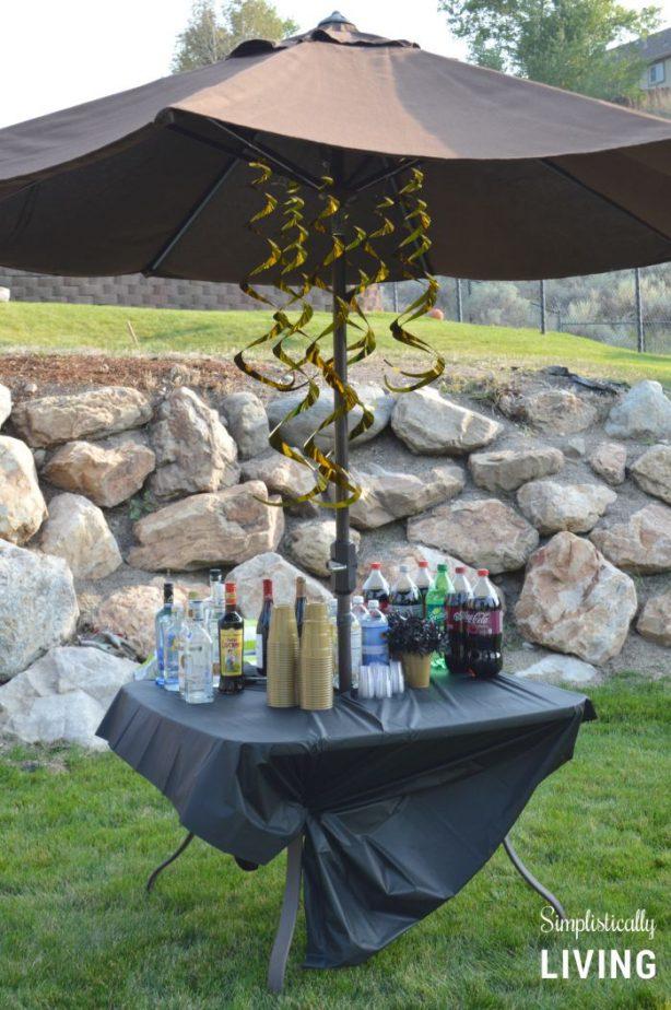 cocktail bar at 50th birthday bash