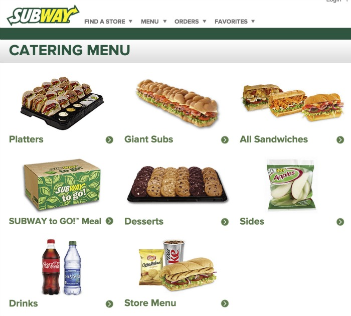subway catering menu