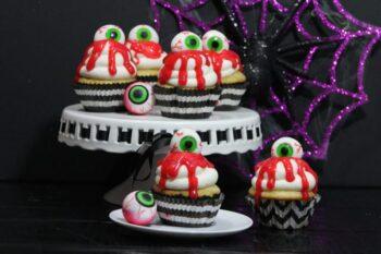 zombie eyeball cupcakes on plate