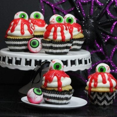 zombie eyeball cupcakes on plate