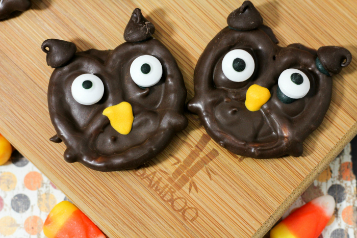 chocolate owls on plate