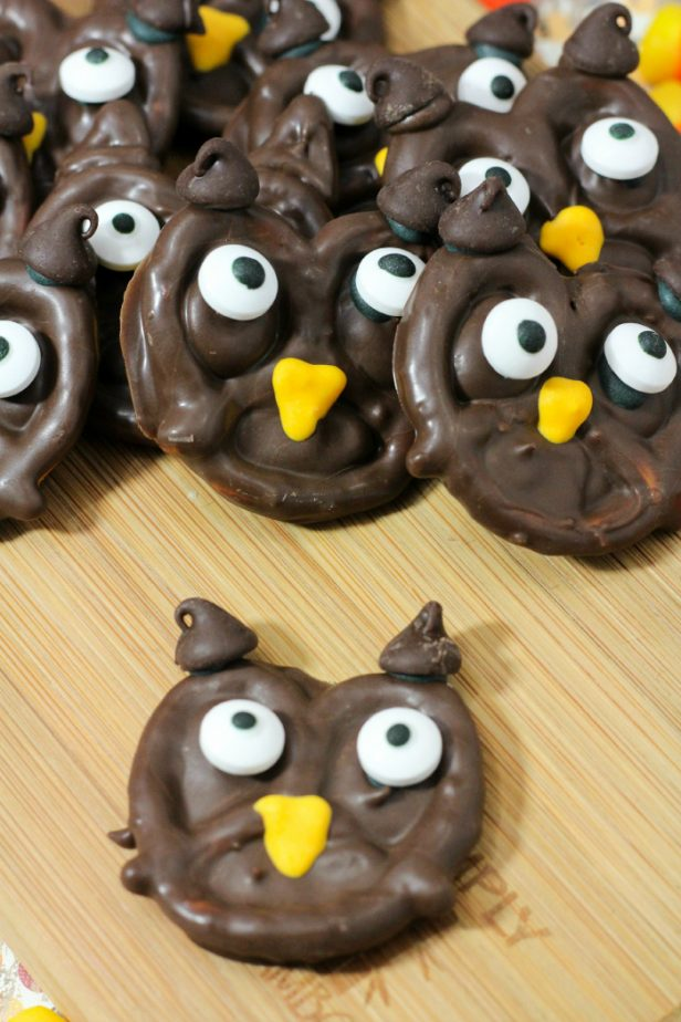 chocolate owls on table