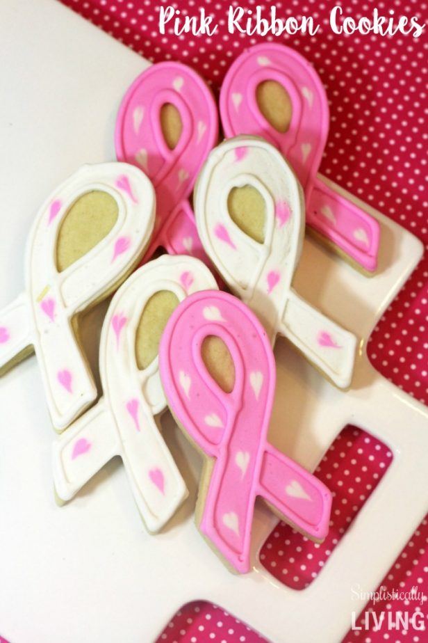homemade pink ribbon cookies