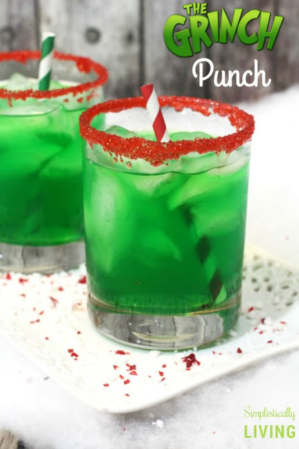 grinch punch in glass with red sanding sugar