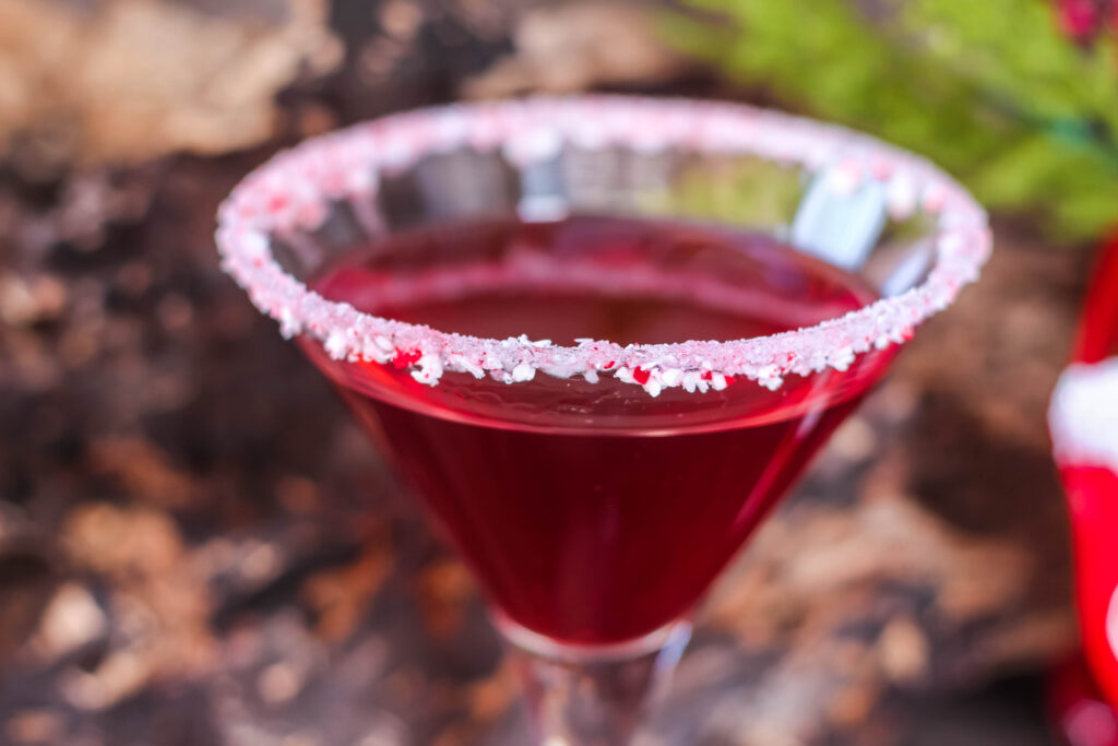 how to make a Cranberry Peppermint Martini
