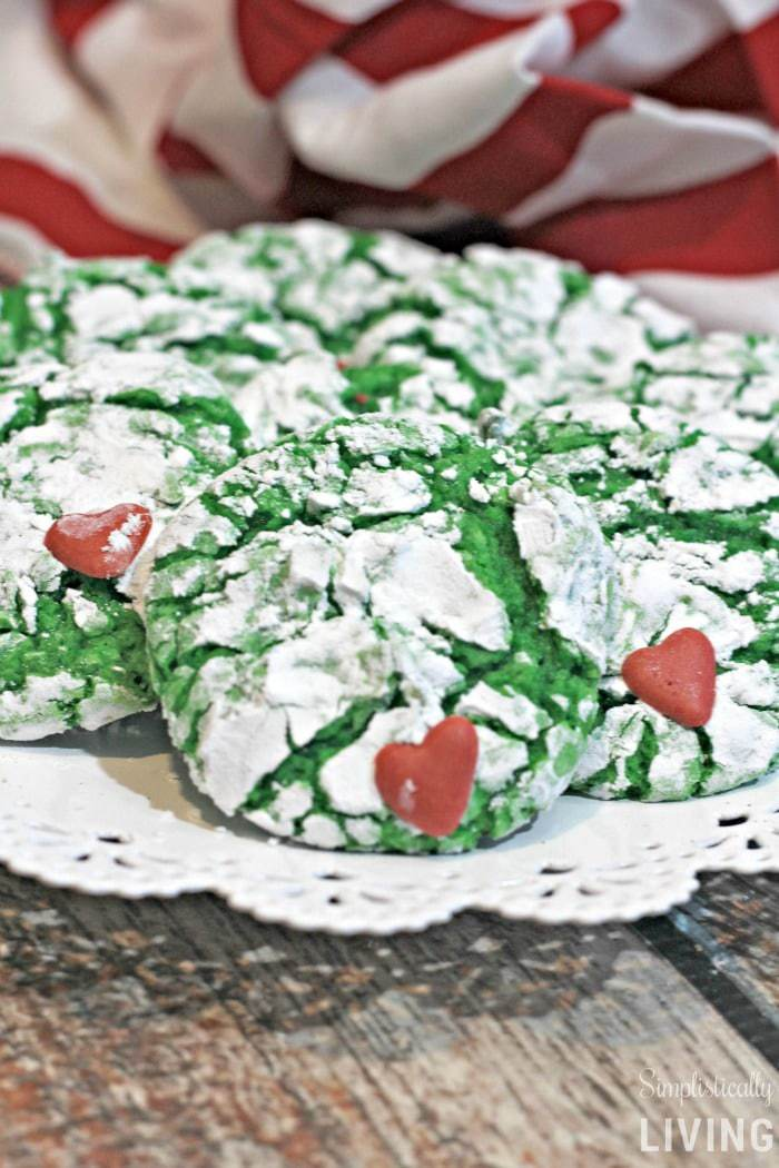 Grinch Cookies A Deliciously Mean And Green Crinkle Cookie Recipe