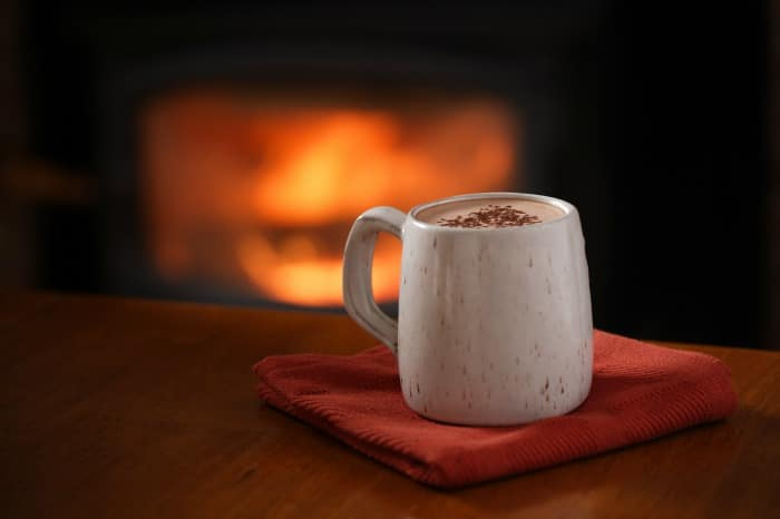 hot cocoa by open fire