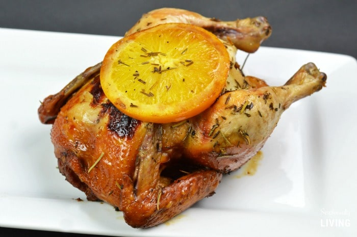 Crockpot Rosemary Orange Cornish Game Hen Chicken featured