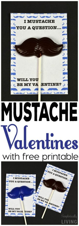 Mustache Valentines + Free Printable #valentinesday #freeprintable #printablevalentines
