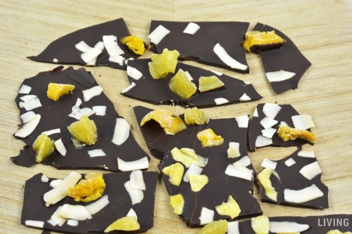 tropical chocolate bark featured