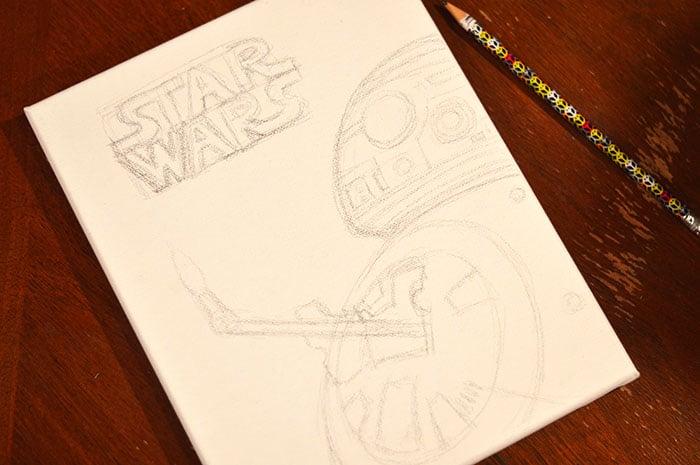 DIY BB-8 Painted Cavas Step1