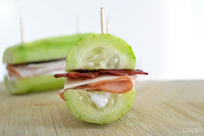Turkey Bacon Ranch Cucumber Sandwiches Featured