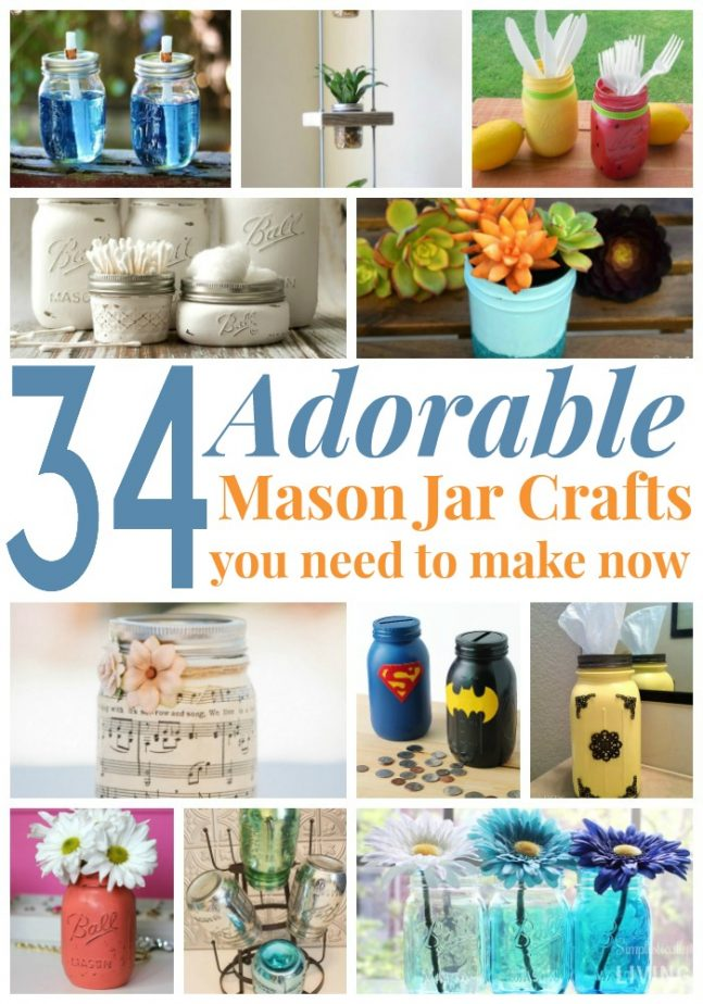 34 Adorable Mason Jar Crafts You Need to Make Now