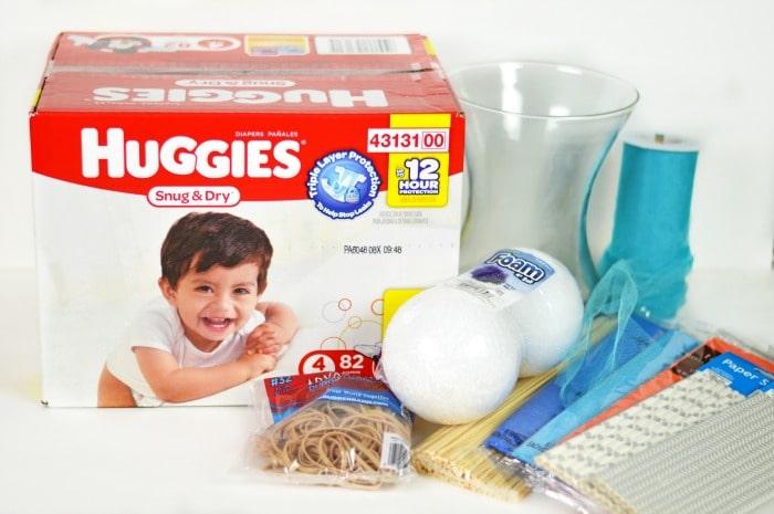 DIY Diaper Bouquet supplies