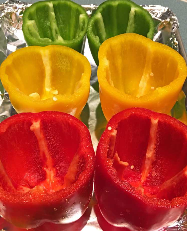 bell peppers on pan