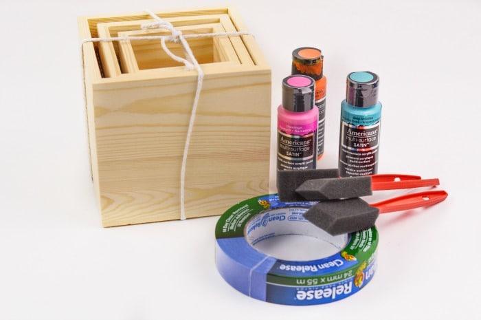 DIY Color Block Wood Planter Step1