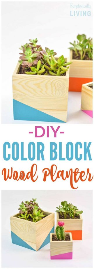 DIY Color Block Wood Planter final
