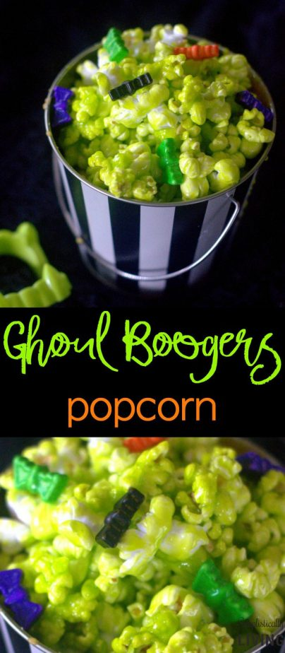 Ghoul Boogers Popcorn - a deliciously sweet Halloween treat filled with green boogers from your neighborhood Ghoul! #ghoulboogers #halloweenrecipes #halloweenpartyideas #halloweenpopcorn | simplisticallyliving.com